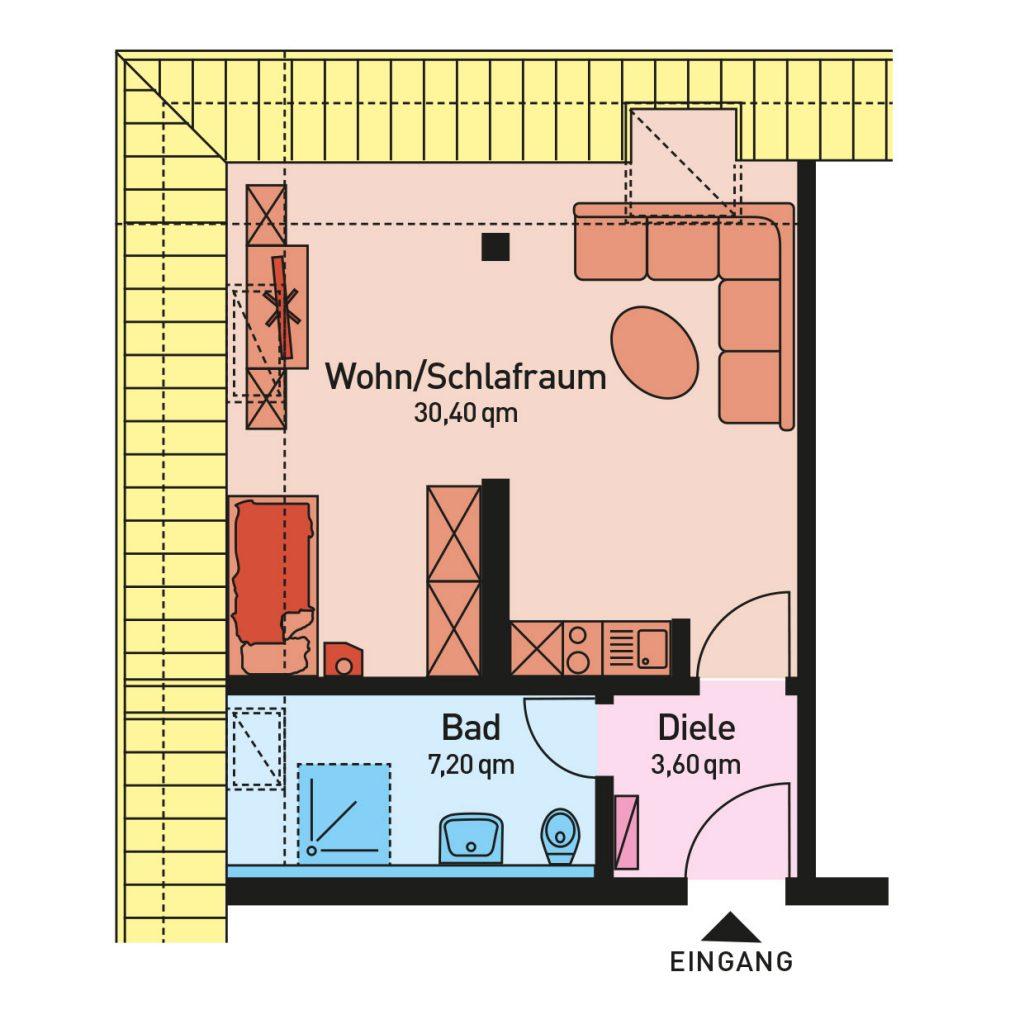 Wohnung 1, Fläche 40,50 qm, Wohn/Schlafraum mit integrierter Einbauküche und Badezimmer