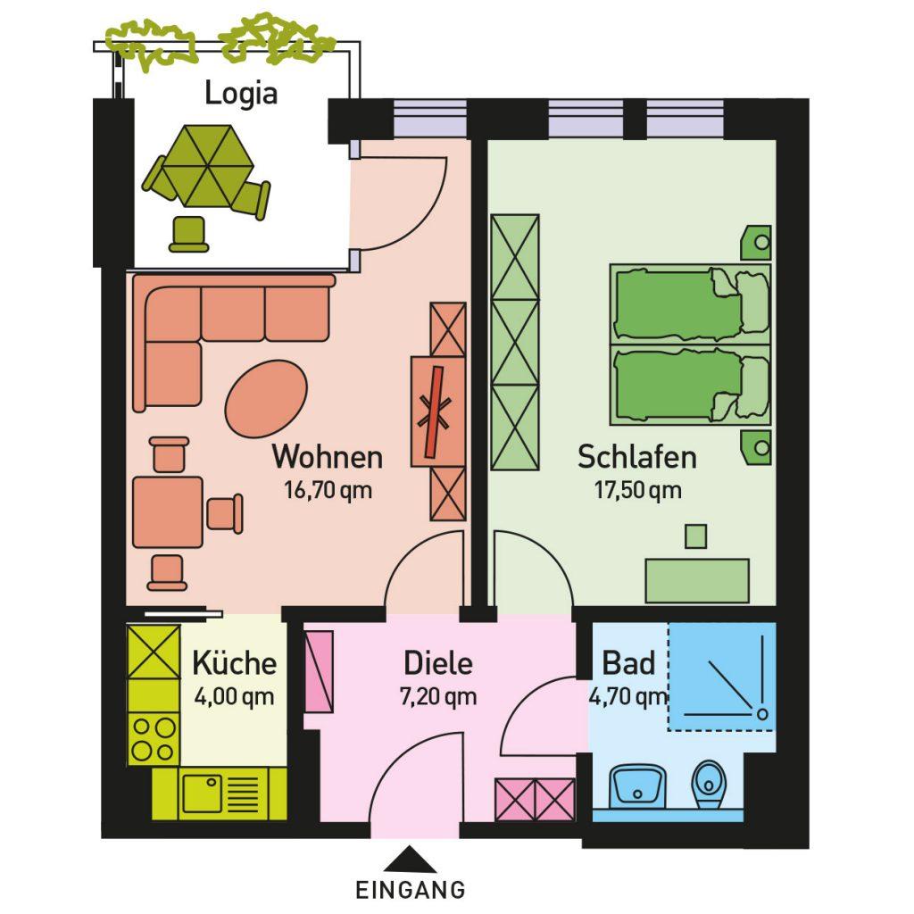 Wohnung 2, Fläche 44,00 qm, Wohnraum, Schlafraum, Logia, seperate Einbauküche und Badezimmer