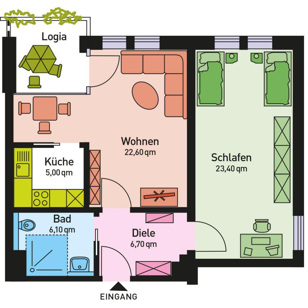 Wohnung 3, Fläche 65,80 qm, Wohnraum, Schlafraum, Logia, seperate Einbauküche und Badezimmer